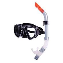 Combo set w/ silicone mask & silicone snorkel, black-silver_311_311