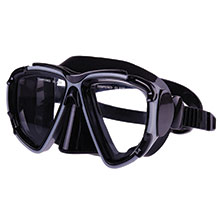 Silicone Mask, Dual Windows  w/ tempered glass, Black_319_319