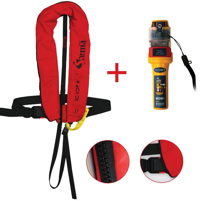 Sigma Inflatable Lifejackets Auto, 170N, ISO 12402-3 with Ocean Signal MOB1, set_4531_4532