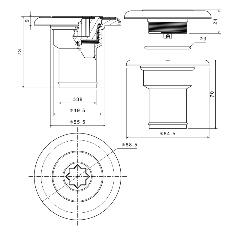 INOX Deck Filler Ø38mm_4895_4896