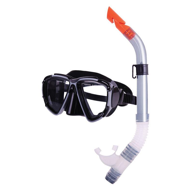 Combo set w/ silicone mask & silicone snorkel, black-silver_311