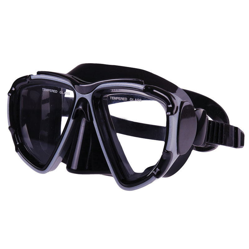 Silicone Mask, Dual Windows  w/ tempered glass, Black