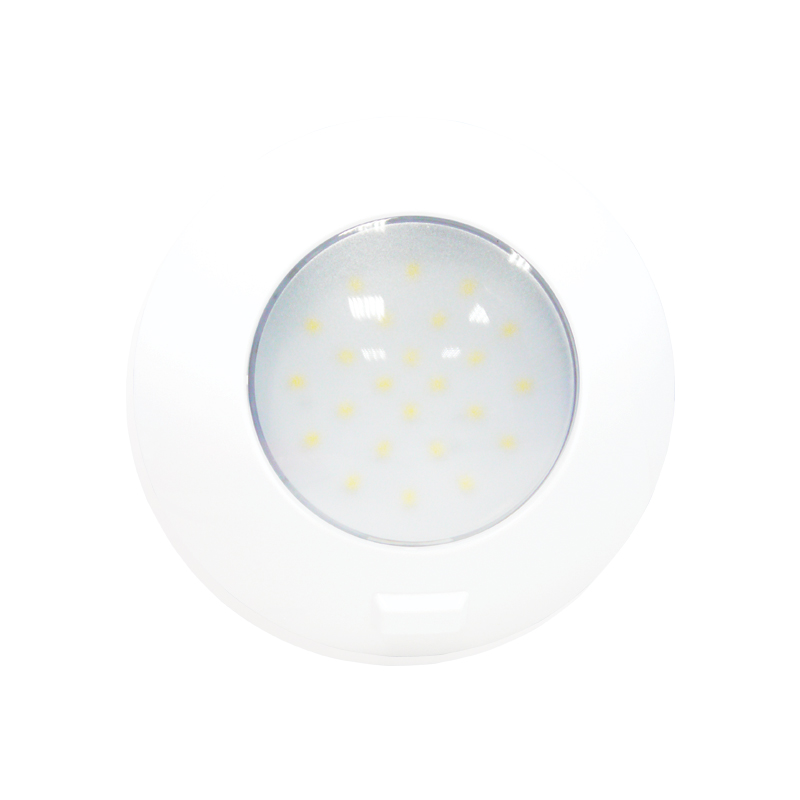 AquaLED Dome Light, round with switch, 4.8W, 12/24V