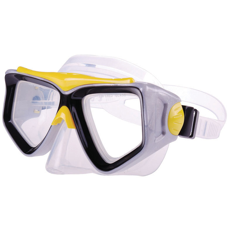 PVC Mask w/ tempered glass, yellow-black