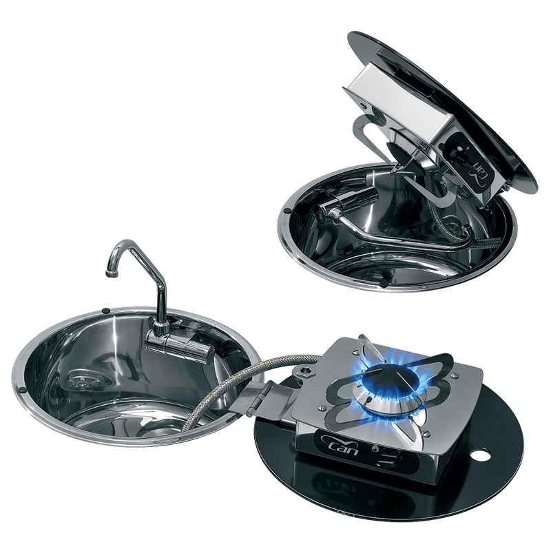 Stainless steel hob unit cook w/ 1 burner, stainless steel sink & a folding faucet
