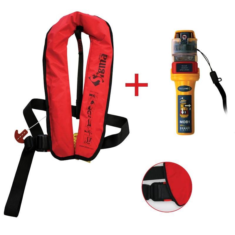 Sigma Inflatable Lifejackets Auto, 170N, ISO 12402-3 with Ocean Signal MOB1, set_4531