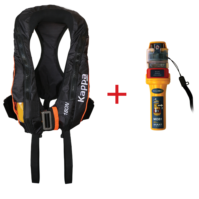 Kappa Inflatable Lifejacket Auto, 180N, ISO 12402-3  with Ocean Signal MOB1, set_4536