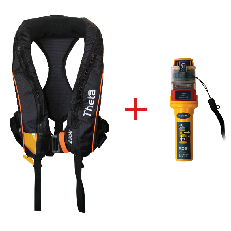 Theta Inflatable Lifejacket Auto, 290N, ISO 12402-2  with Ocean Signal MOB1, set_4538